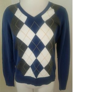 IZOD Argyle Blue Gray V-Neck Pullover Sweater